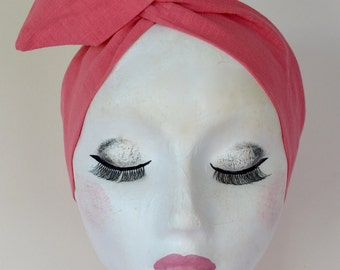 1950s Rockabilly Pin Up Coral Pink Dolly Bow Wire Twist Headband