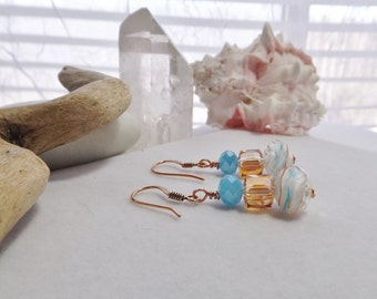 Handmade, Drop, Dangle, Southwestern, Rustic, Beaded Earrings with Turquoise, Amber, and Cream Glass Beads, with Copper Earwires, for Her