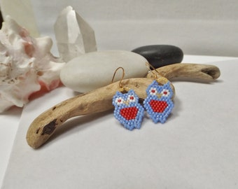 Drop, Dangle Owl Earrings, Hand-woven, Rustic, Americana with Blue and Red Delica, Seed Beads for 4th July, Summer, Spring, Gift for Her