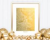 Boston Print, Boston Map, Boston Gold Foil Print, Boston Art, Boston Wall Art, Gold Foil Boston, Beantown in Gold, Street Map Print