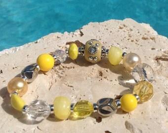 Yellow bracelet, yellow and crystal bracelet, bright yellow bracelet