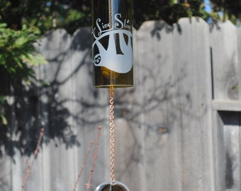 Sloth Live Slow Wine Bottle Wind Chime - Windcatcher Upcycled Recycled Repurposed Wine Bottles Personalized Garden Art Wine Wedding J-B