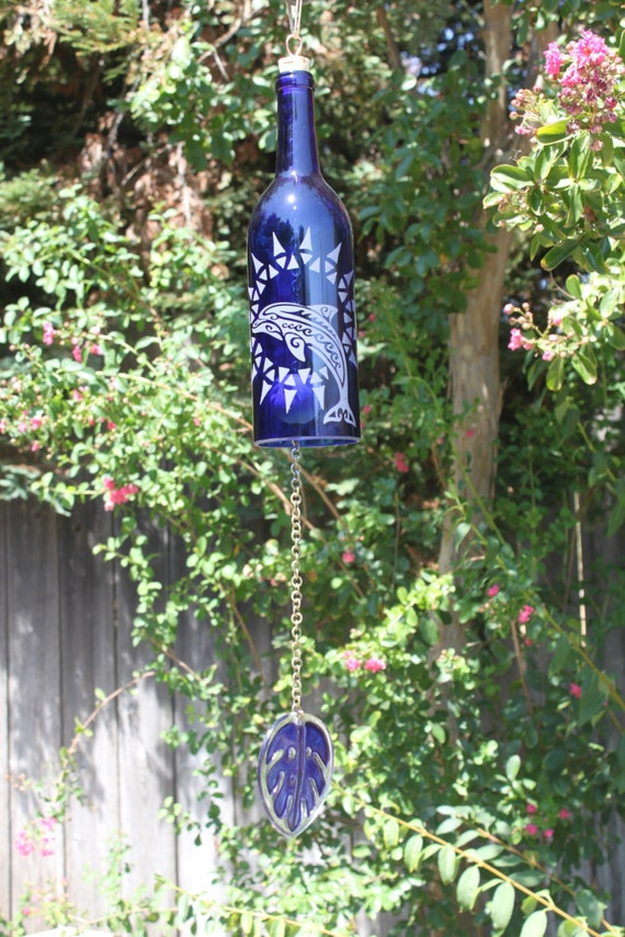Dolphin sun wine bottle wind chime garden decor windcatcher Sun garden riesling