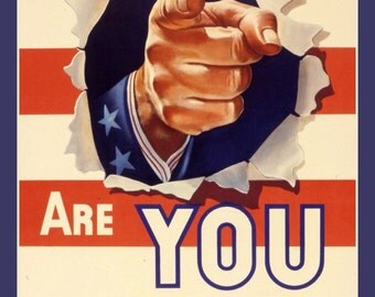 Fridge Magnet Are You Doing All You Can, Uncle Sam's pointing finger, WWII era vintage poster image