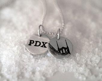 St Johns Bridge / PDX Portland Medallion Necklace