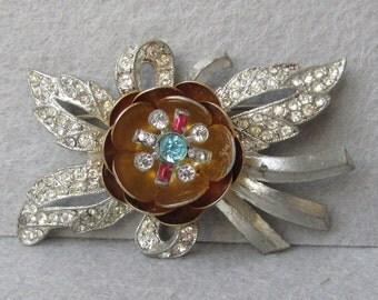 1930's Pot Metal Rhinestone Flower TREMBLER Pin, Vintage Brooch