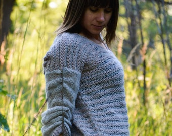 Dune - comfy hand knitted wool sweater from Alpaca/silk and fine merino yarn  - OOAK, boho/ethno - ready to ship!