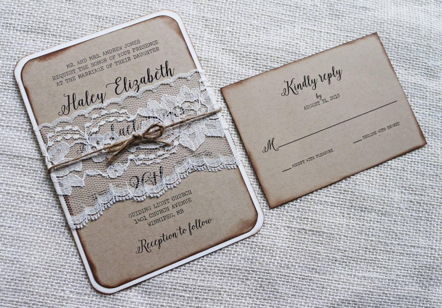 Lace Wedding Invitation: Rustic Wedding Invitation Vintage Lace Wedding Invitation