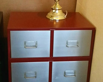 Vintage File Box 6 Drawer Cabinet End Table Nightstand Refinished Metal Office Furniture Claret Wine INV 3