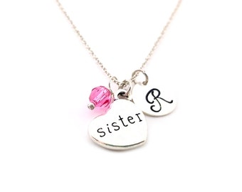 Sister Necklace - Sister Jewelry - Swarovski Birthstone - Personalized Initial Necklace - Sterling Silver Jewelry - Gift for Her