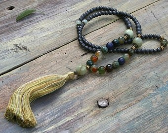 Beautiful hematite gemstone mala necklace