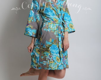 307, Floral kimono cross over robe, CUSTOM, Bridesmaids, Bride, Bridal, cotton robe, spa robe, beach cover up, dressing up robe, maternity