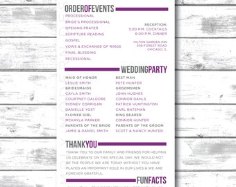 modern wedding program, ceremony, program, PRINTABLE