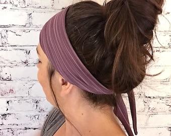 NEW! Tie-Back Headband - Boysenberry Bamboo Stripes  - Boho Headband - Yoga Headband - Eco Friendly