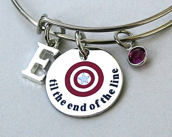 Til The End Of The Line , Captain America , Winter Soldier, Personalized, Charm Bangle, Gift For Her, Best Friends , Shield Charm, Team Cap