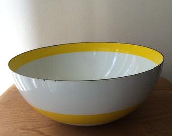 Large Cathrineholm Yellow Stripe Enamel Bowl