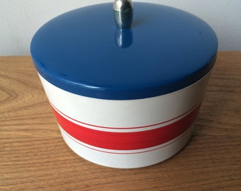 Retro Blue and Red Stripes Stacking Canisters