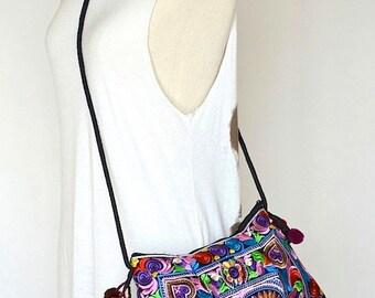 Women Bag Thai Bag Hmong Bag Hill Tribe Bag Sling Bag Boho Bag Ethnic Bag Flower Hearts Birds with Embroidery SHE31