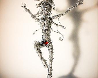 Fairy - Wire Fairy Sculpture 'Happy'