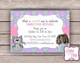 Personalized Kitty Cat Birthday Party Invitation- Digital File Download- Kitten, Baby Shower, Bridal Shower Invite