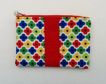 Red Zipper Pouch, Floral Makeup Bag, Make Up Bag, Red Pencil case