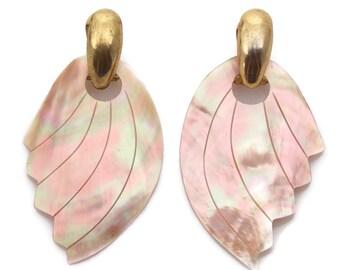 Pink Mother Of Pearl Dangle Earrings Pierced Ears
