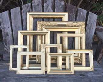 Gold Picture Frame Set, Set of 10, Wall Gallery, Wedding frames, Gold decor, Custom frame set, Ornate, baroque frames (los angeles)