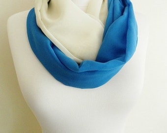 Blue White Chiffon Infinity scarf, Circle scarf, Loop scarf, Scarves, Shawls, spring - fall - winter - summer fashion