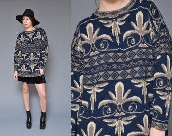 Oversized Sweater 90s Floral Sweater Baroque Scroll Geometric Slouchy Long Navy Tan Hippie Boho Preppy Jumper Medium