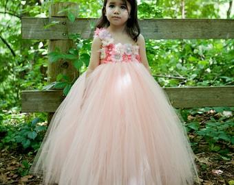 flower girl dress peach, coral flower girl, coral tutu dress, peach tutu dress, girls birthday outfit,