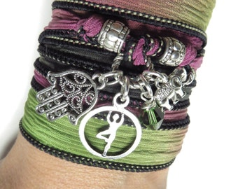 Namaste Silk Wrap Bracelet Yoga Jewelry Sacred Elephant Wrist Wrap Band Hamsa Bohemian Spiritual Balance Wrapped Bracelet Yoga Gift For Her