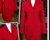 Vintage Guy Laroche Couture Red Jacket Skirt Set Suit FREE SHIPPING