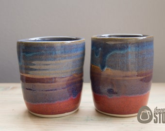 Tumblers - Purple, Red and Blue Ceramic Tumblers - Set Of Two Stoneware Cups