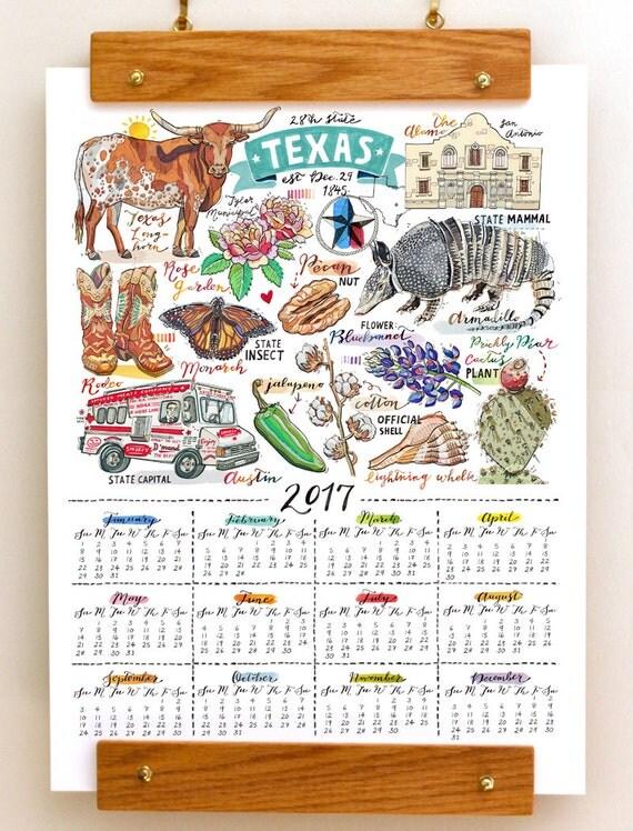 Texas Wall Calendar 2017 Home Decor State Print By Loupaper