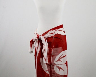 1970s Huge Glentex Hibiscus Cotton Red White Square Scarf Made in India