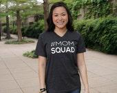 Mom squad vneck tshirt. #momsquad. Unisex. Bella & Canvas. charcoal. XS S M L XL 2XL