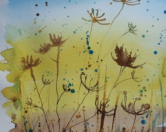 Original landscape painting, ink on paper, ink painting, cornwall landscape, seed heads, cowparsley