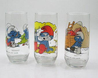 Vintage Smurf Glass Collection