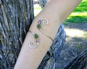 Silver Spiral Armband with Leafy Jade and Moonstone Detailing Recycled Sterling Silver Armband Bangle by Full Spiral Designs