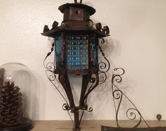Vintage Metal and Stained Glass Sconce
