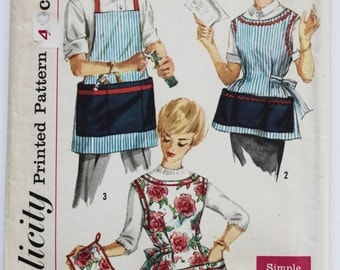 Vintage 1950s Womens and Mens Pocket Apron and Pot Holder Sewing Pattern Simplicity 3206 Size Large