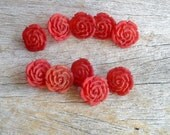 Red Rose Buttons ,  Carved Rose Buttons , 16 mm Flower Buttons  , Sewing And Needlecraft Supplies