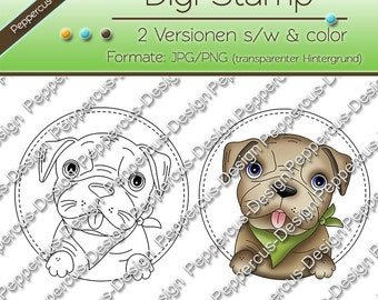 Digi stamp set - dog - round / E0008
