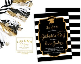 Graduation Party Invitations, Graduation Invitation, Black & White Stripe, Graduation Invite, Striped Invitation, Graduation Cap