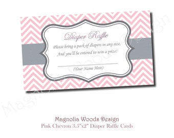 Baby Pink Chevron Diaper Raffle Card, Pink Baby Shower, Girls Baby Shower Diaper Raffle, Diaper Raffle Instant Download (Print Your Own)
