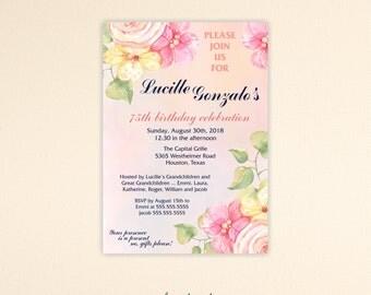 Birthday Invitation, woman's, feminine, party, 30th, 40th, 45th, 50th, 60th, 65th, 70th, 75th, 80th, 90th, digital, printable invite, A7005