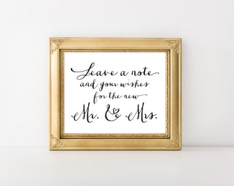 """INSTANT DOWNLOAD... Notes & Wishes Sign 8x10"""" DIY Wedding Poster Printable"""