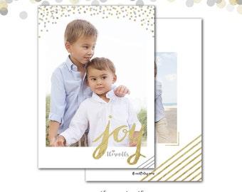 Holiday Photo Card, Christmas Card, Gold Confetti, Confetti, Silver and Gold, Christmas Photo Card, Joy, Printed or Printable