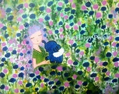 Colorful Wall Art Whimsical Wall Art Blue Roses Pink Girl Art Magical Nature Garden Elephant Enchanted Art For Her