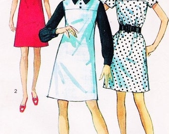 60s CUTE Mod A Line Dress Pattern SIMPLICITY 8036 Three Kawaii Style Versions UNCUT Vintage Sewing Pattern  Size 10